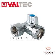 """Кран-трійник кульовий Valtec 1/2""""x3/4""""x1/2 для пральних машин (VT.256.N) Італія"""