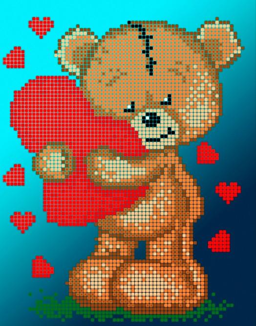 Схема для вишивки та вишивання бісером Бисерок «Тедді з сердечком» (A5) 15x18 (ЧВ-2327(10))