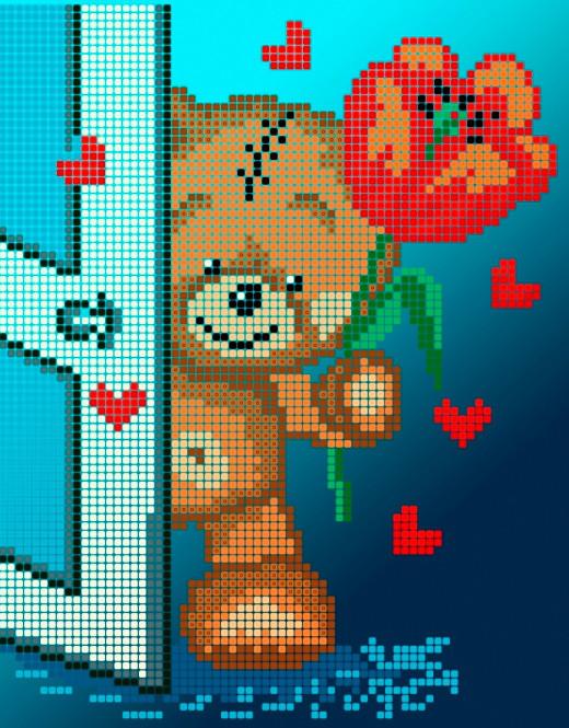 Схема для вишивки та вишивання бісером Бисерок «Тедді з тюльпаном» (A5) 15x18 (ЧВ-2326(10))