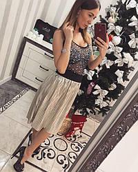 Юбка миди плиссированная модная + (2 цвета)