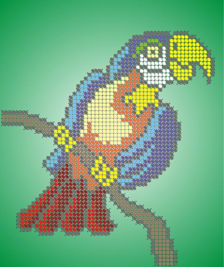 Схема для вишивки та вишивання бісером Бисерок «Папуга» (A5) 15x18 (ЧВ-2324)