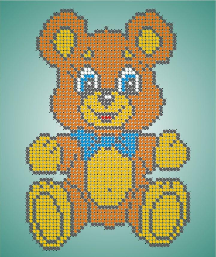 Схема для вишивки та вишивання бісером Бисерок «Плюшевий ведмедик» (A5) (ЧВ-2323)