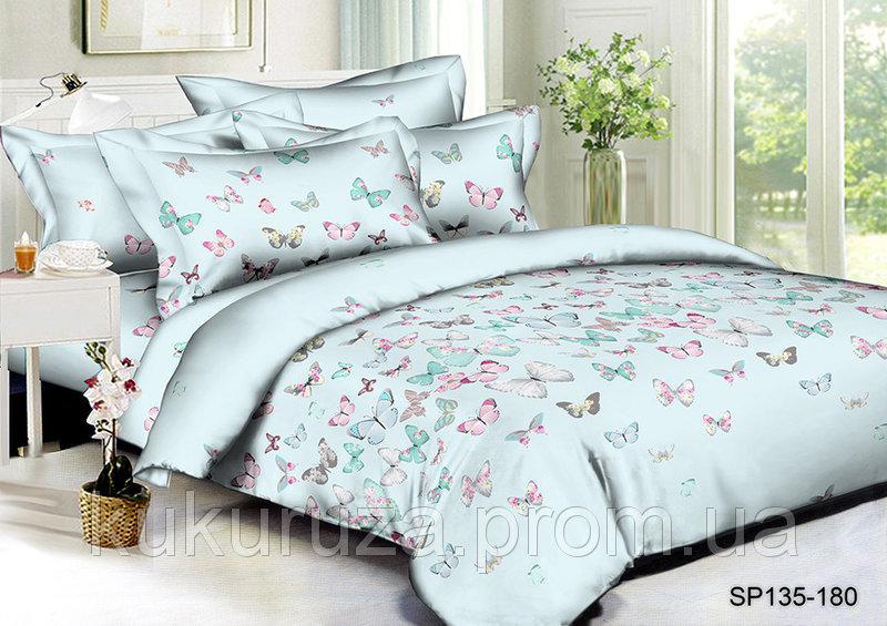 Семейный  комплект постельного белья из полисатина Небесные бабочки