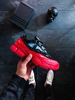Мужские кроссовки Adidas Raf Simons Ozweego bunny black red, Копия