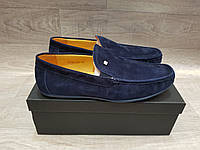 Мужские замшевые кожаные синие мокасины