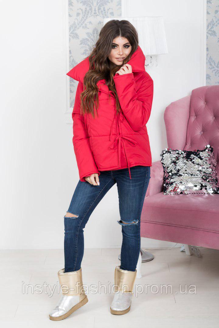 Женская куртка на завязках ткань плотная плащевка 200 синтепон красная