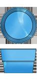 Стаціонарний скловолоконний посилений басейн діаметр-2,4 глибиною 1,7 м.