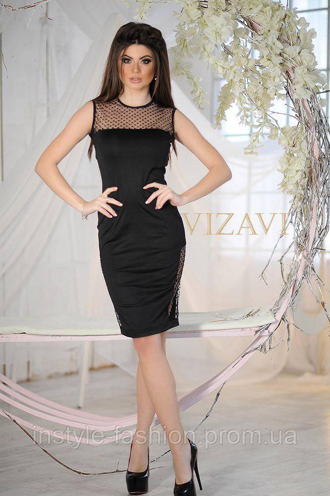 Красивое женское платье ткань микро дайвинг, вставки из евро сетки черное