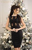 Красивое женское платье с сеткой ткань дайвинг высокого качества черное