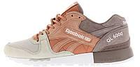 Мужские кроссовки Reebok GL 6000 Рибок бежевые с коричневым