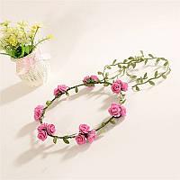 Веночек для волос розовый Розы