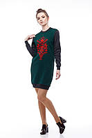 Платье-свитшот серо-зеленое