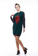 Платье-свитшот серо-зеленое, фото 1