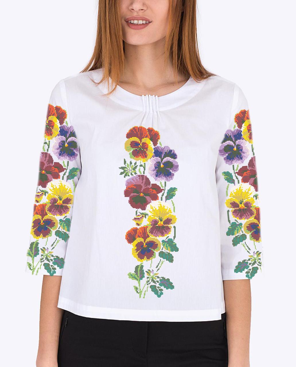 Заготовка вишиванки жіночої сорочки та блузи для вишивки бісером Бисерок «Братики 86» (Б-86  ГБ) Габардин