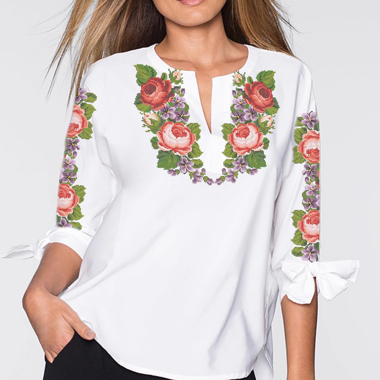 Заготовка вишиванки жіночої сорочки та блузи для вишивки бісером Бисерок  «Троянди 93» (Б-93  )