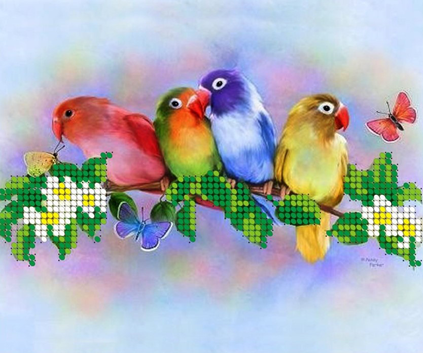 Схема для вишивки та вишивання бісером Бисерок «Папуга на гілці» (A5) 15x18 (ЧВ-2303)