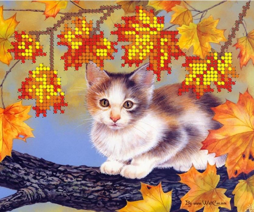 Схема для вишивки та вишивання бісером Бисерок «Кіт на дереві» (A5) 15x18 (ЧВ-2301)
