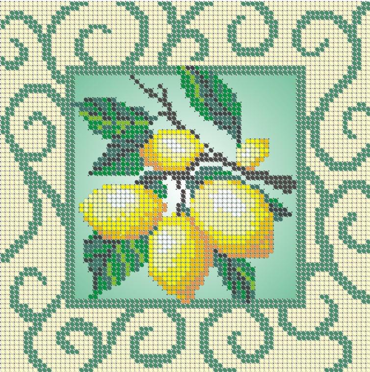 Схема для вишивки та вишивання бісером Бисерок «Лимони» (A5) 15x18 (ЧВ-2178(10))