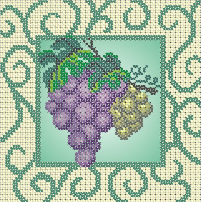 Схема для вишивки та вишивання бісером Бисерок «Виноград» (A5) 15x18 (ЧВ-2176(10))
