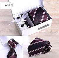 Набір подарунковий: краватку, запонки, хустку, затискач, подарункова коробка бордовий GS673, фото 1