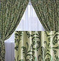 "Комплект готовых штор  блэкаут, ""Лилия"". Цвет зеленый 127ш (Б), фото 1"