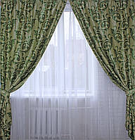 """Комплект готовых штор  блэкаут, """"Лилия"""". Цвет зеленый 127ш (Б) 2 шторы шириной по 1.5м."""