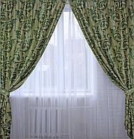 """Комплект готовых штор  блэкаут, """"Лилия"""". Цвет зеленый 127ш (Б) 2 шторы шириной по 2.5м."""