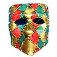 Маска мужская венецианская карнавальная Арлекин