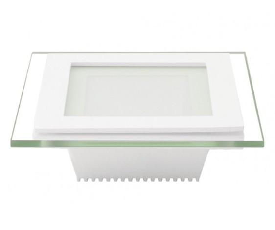 Светодиодная панель Eurolamp LED-PLS-6/3(скло) 6W 3000K (квадрат.бел.) Код.57897