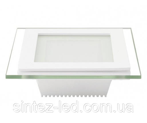 Светодиодная панель Eurolamp LED-PLS-6/3(скло) 6W 3000K (квадрат.бел.) Код.57897, фото 2
