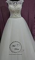 Свадебное платье лодочка айвори вручную расшитое бисером, фото 1