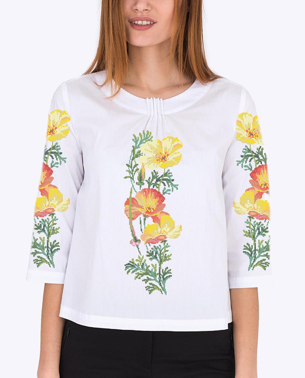 Заготовка вишиванки жіночої сорочки та блузи для вишивки бісером Бисерок «Маки 87» (Б-87 ГБ) Габардин