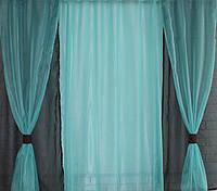 Комплект короткие шторки и тюль, цвет венге с бирюзой. Код 056к (У)