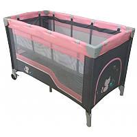Манеж-кровать Baby Mix HR-8052-2  2-х уровневый pink