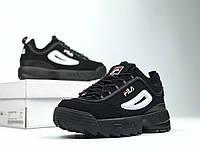 Fila Disruptor 2 Black   кроссовки женские и мужские; черные