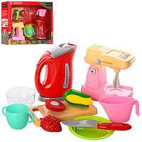 Детский Игровой набор кухонной бытовой техники, чайник, миксер, посуда, продукты, 58000-9