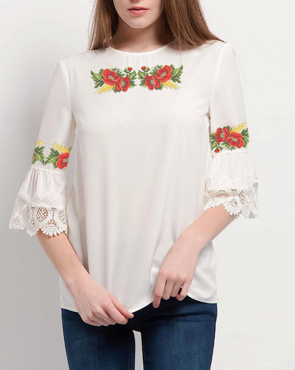 Заготовка вишиванки жіночої сорочки та блузи для вишивки бісером Бисерок « Квітуче літо» Габардин ( c77775b88d8ed