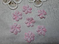 Аплікація квіточка 3 см, рожева
