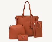 Женские сумки в наборе цвет коричневый, фото 1
