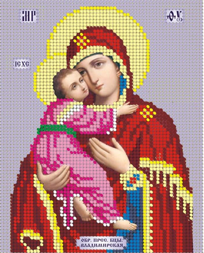 Схема для вишивки та вишивання бісером Бисерок ікона «МБ Владимирская» (A5) 15x18 (ЧВ-2043)