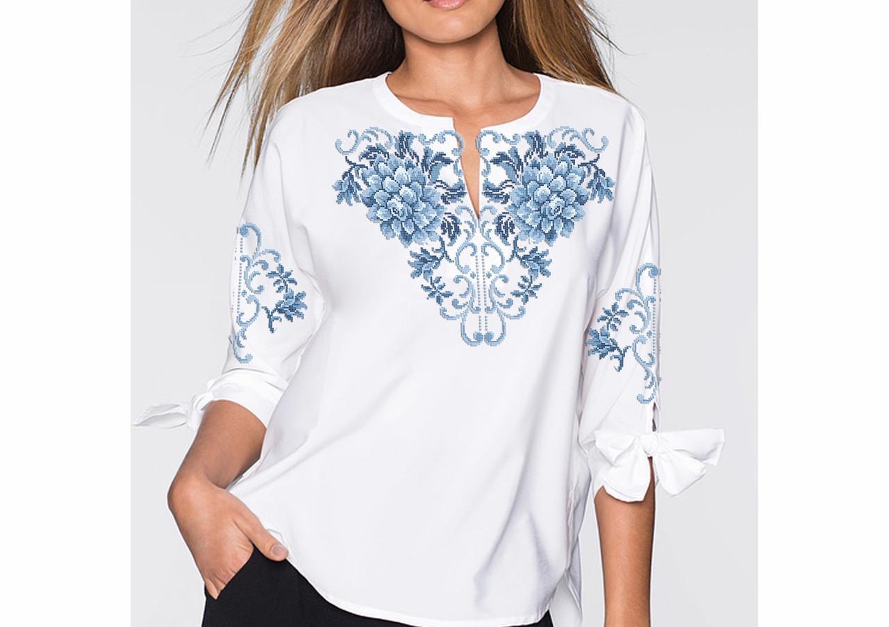 Заготовка вишиванки жіночої сорочки та блузи для вишивки бісером Бисерок «Жоржина»  (Б-164 ГБ) Габардин