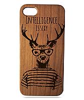 """Дерев'яний чохол  Wooden Cases для Apple iPhone 6/6s з лазерним гравіюванням """"Intelligence Is Sexy"""" Вишня"""