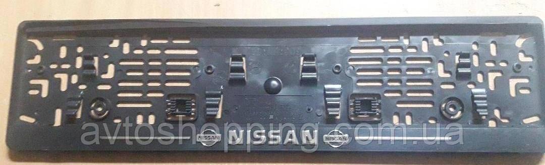 Рамка под номер с металлической надписью Nissan,  Рамка Черная