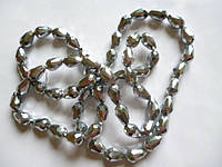 Бусины капля хрустальные серебряное напыление 12*8 мм 60 шт