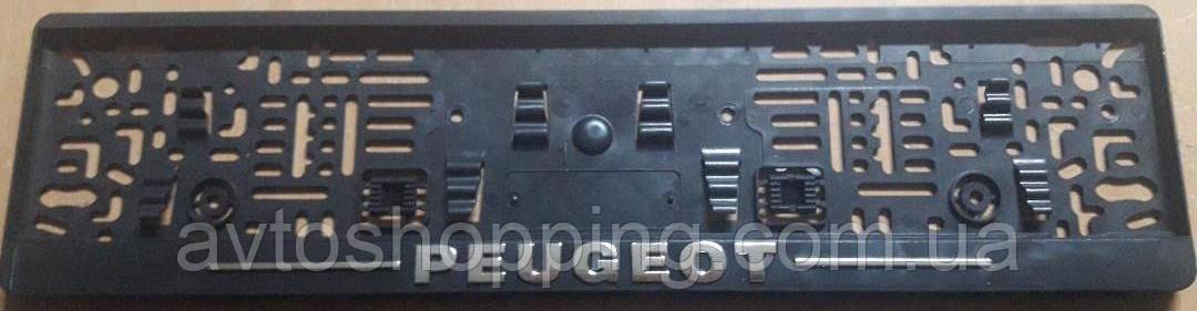 Рамка под номер с металлической надписью Peugeot Пежо,  Рамка Черная