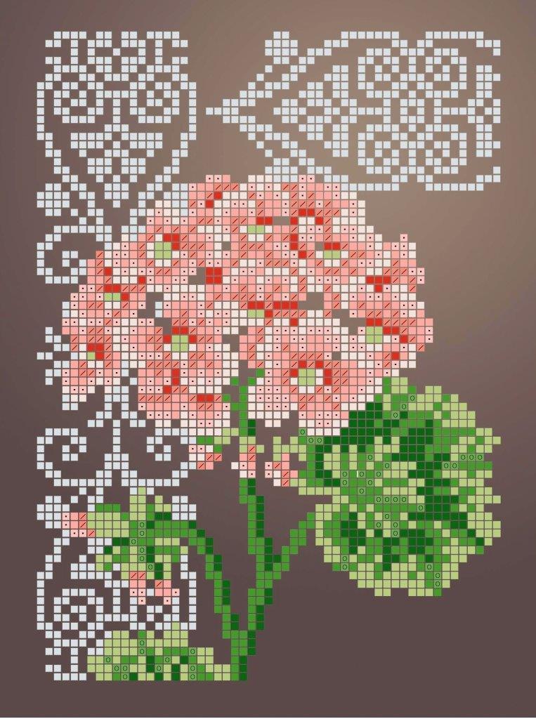 Схема для вишивки та вишивання бісером Бисерок «Пеларгонія» (A5) 15x18 (ЧВ-2341 (10))