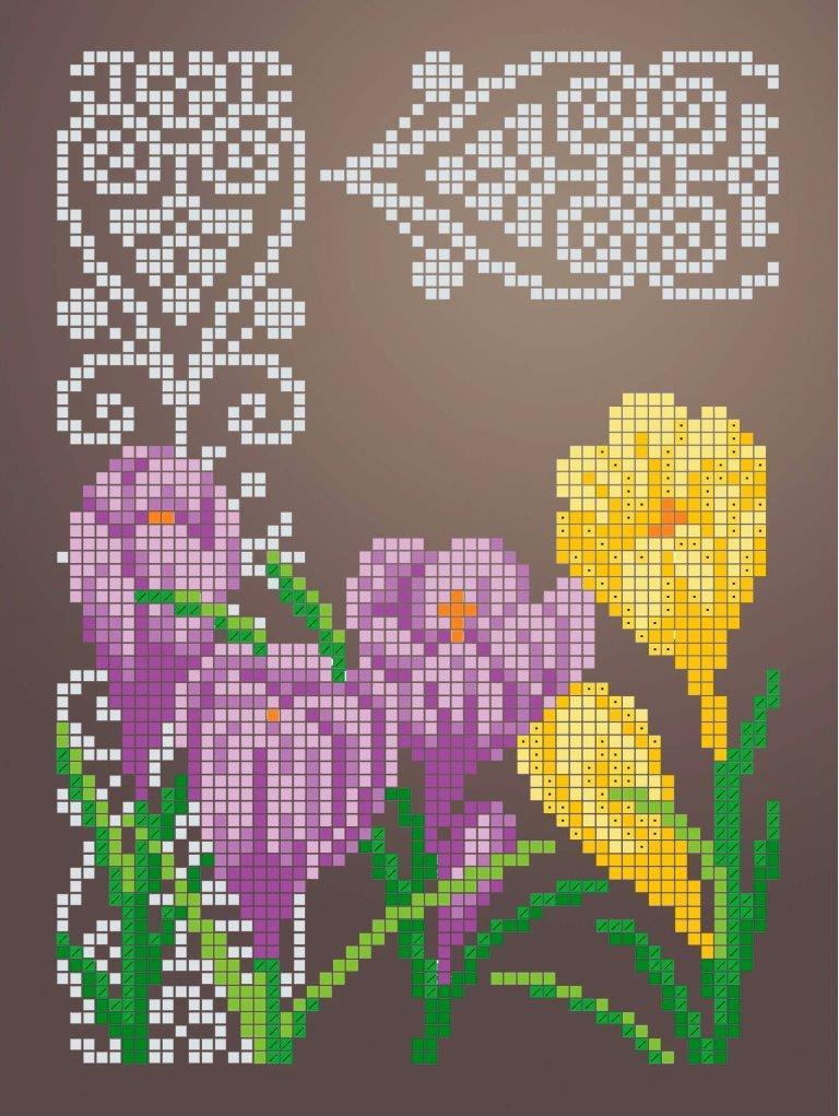Схема для вишивки та вишивання бісером Бисерок «Крокуси» (A5) 15x18 (ЧВ-2342 (10))