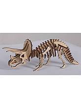 Дерев'яний 3D пазл Трицератопс