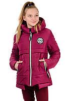 Подростковая куртка на девочку (бордо)
