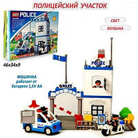 Конструктор JIXIN 8188 «Полицейский участок» на батарейках (63 детали)